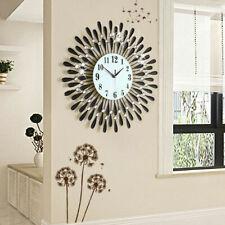 Extra Large 3D Wall Clock Art Metal Diamonds Silent Clock Home Office Decor DIY