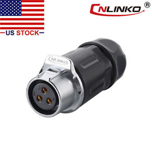 CNLINKO 3 Pin Power Circular Connector Female Dock Outdoor Waterproof IP67 M20