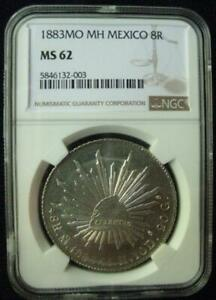 Mexico 1883 Mo MN 8 Reales cap and rays Proof like nice eye appeal  NGC MS 62