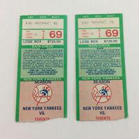 two NEW YORK YANKEES ticket stubs ~ vs Toronto Blue Jays September 13, 1985