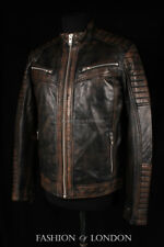 Men's RAVAGE Brown Washed Lambskin Quilted Shoulder Motorcycle Leather Jacket