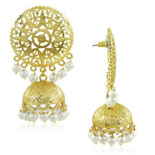Spargz Round Gold Plated Pearl Earrings With Jhumka Drop For Women AIER 602