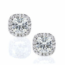 2.50Ct Diamond Earrings Real Solid 14K White Gold Studs Cushion Cut VVS1