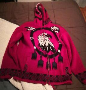 Tejidos Ruminahui Wool Zip Up Hooded Sweater Men's Large Native Eagle