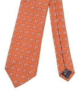 Ermenegildo Zegna ITALY Woven Orange Square Geometric Silk Tie