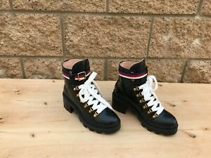 NWOT/B Women's Gucci Trip Ankle Boots , Black Leather , Size 38 G / 8 US