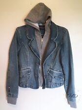 Bubblegum USA Blue Denim Jean Jacket Coat Hood Zip or Button Up Juniors Small S