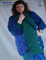 Original Patons Knitting Pattern Lady's Juniper & Aran Jacket No C3957
