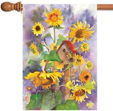 New Toland - Birdhouses & Sunflowers - Colorful Flower Spring Summer House Flag