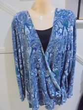 MILLERS NWOT SIZE 22 GORGEOUS BLUE BLACK PAISLEY PRINT TOP 'VERY DRESSY'
