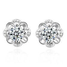 Popular 925 Silver Plated Rhinestone Diamond Ear Stud Earrings Best