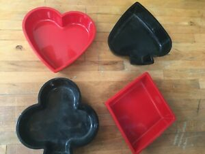 Vintage 1950s set of 4 plastic trinket or snack trays suits of cards