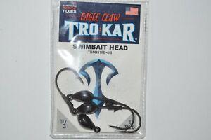 eagle claw tro kar trokar swimbait head w/ keeper 4/0 3/16oz black