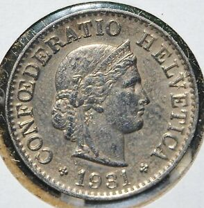 Switzerland, 1931B - 5 Rappen - Copper-Nickel - KM # 26