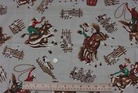 Vintage American Cotton Cowboy Western Rodeo Fabric c1950
