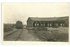 RPPC Unidentified Railroad Train Roundhouse Fire? Real Photo Postcard