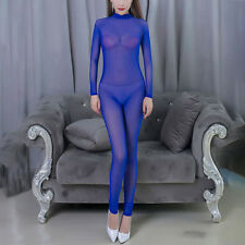 Women Sexy Sheer Full Bodysuit Backless See-through Lingerie Catsuit Clubwear