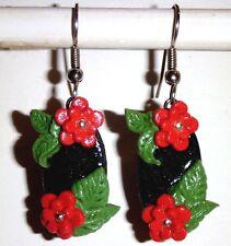 Ohrringe Blumen Blüten Oval Rot Schwarz Damen Ohrschmuck Modeschmuck Fimo
