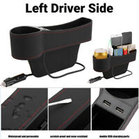 Universal Car Seat Gap Organizer Side Pocket Storage Box Case Dual USB Charger