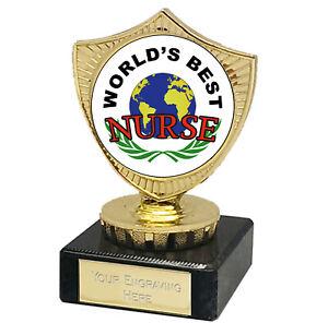 """Worlds Best NURSE Trophy Award, Lockdown NHS 2021 4"""" Free p&p & Engraving"""