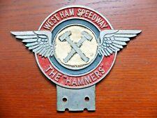 RARE WEST HAM SPEEDWAY 'THE HAMMERS' CAR BADGE. MOTORCYCLE MEMORABILIA.
