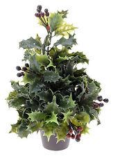 ALBERO di Natale Mini Scrivania Top Holly Albero di Natale in vaso con bacche rosse