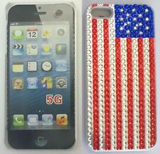 COVER CUSTODIA RIGIDA PER APPLE IPHONE 5 COLORE STRASS BANDIERA USA AMERICANA