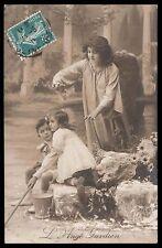 Edwardian 1910s original vintage photo postcard child girl boy guardian angel