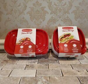 Rubbermaid TakeAlongs Food Storage Bowls W/Lids 3 Rectangle & 4 Square 7 Total.