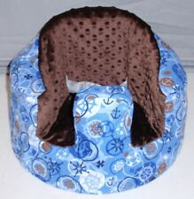New Bumbo Floor Seat Flannel Cover • Nautical Theme • Safety Strap Ready