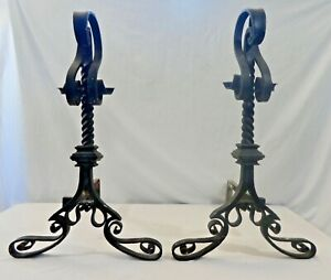 """PAIR of Hand Wrought, Forged Iron ANDIRONS. Twisted Shafts. Lyrical curves.26""""T"""