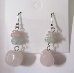 Fashion Earrings- beads- light pink & green- french wire- sterling silver wires