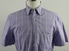 MINT Lacoste 40 Short Sleeve Button Down Shirt MENS MEDIUM Purple Plaid