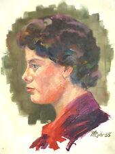 Gemälde Bild Portrait  Öl auf Leinwand signiert datiert 1955