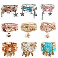 Hot Boho Multilayer Natural Stone Bead Tassel Bracelet Set Charm Women Holiday