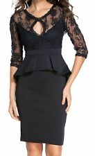 Three Quarters 3/4 Sleeve Embroidered Black Peplum Dress - size M/L (UK 10/12)
