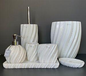 New Items! Bella Lux White Swirled Crystal Rhinestones Ceramic Bath Acc YOU PICK