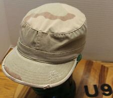 ADULT DESERT CAMO ULTRA FORCE CADET/MILITARY STYLE HAT SIZE SMALL DISTRESSED VGC