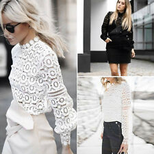 Lot Women Lady Casual Lace Blouse Long Sleeve Shirt Loose Tops T-Shirt Pullover