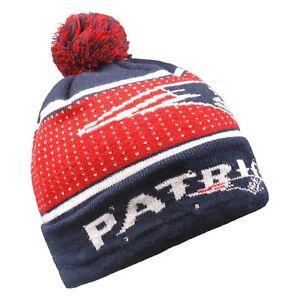 New England Patriots Big Logo Light Up Beanie Winter Hat Toque Cuffed Pom Knit