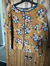 Size 16 M&S Collection Mustard Gold Floral Tunic Top