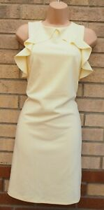 NEW LOOK PALE YELLOW FRILL FRILLY SLEEVELESS SHIFT BODYCON TUNIC TEA DRESS 12 M