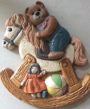 Rocking Horse and Teddy Bear Plaque Girl Or Boy's Room Vintage