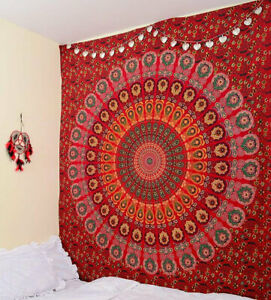 Twin Size Bedspread Wall Hanging Cotton Home Decor Red Tapestry Indian Mandala
