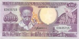 SURINAME 100 Gulden 🌎💷 P- 133a, UNC; 1986 💷🌎🦜🦜 TOUCAN 🦜🦜 BV=$20.00