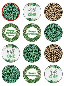 Wild one Birthday name personalised edible printed cupcake Toppers Wafer icing