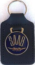 Saab aircraft emblem Keyring Key Ring - badge mounted on a leather fob