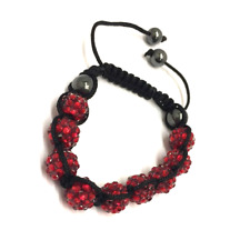 Red Shamballa Adjustable Bracelet 10 mm 9 Disco Balls Beads Crystal Bangle