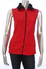 New Women/'s #2339 American Living  Red Full Zip sleeveless jacket Size Large