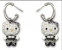 Swarovski Hello Kitty Gothic Pierced Earrings NIB #1145268 Brand New